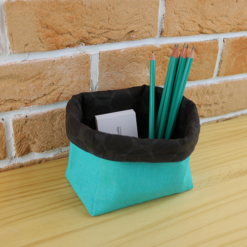 Vide poches upcycling en tissu de recup marron (motifs rond) et vert