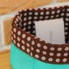 Pannière écolo en tissu de recup vert et marron