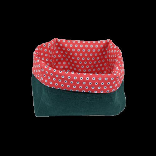 Vide poches vert à l'intérieur rouge en tissu de recup écolo
