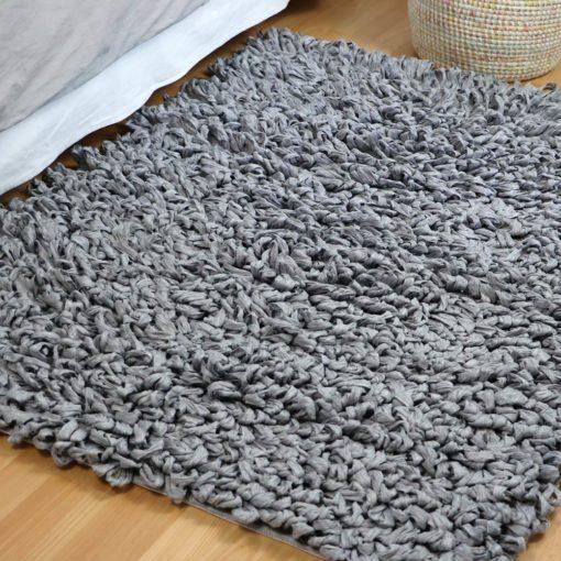 Tapis le grand bouclé, tapis tissu gris