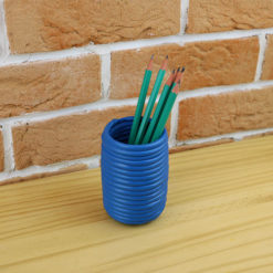 Pot upcyling plastique bleu