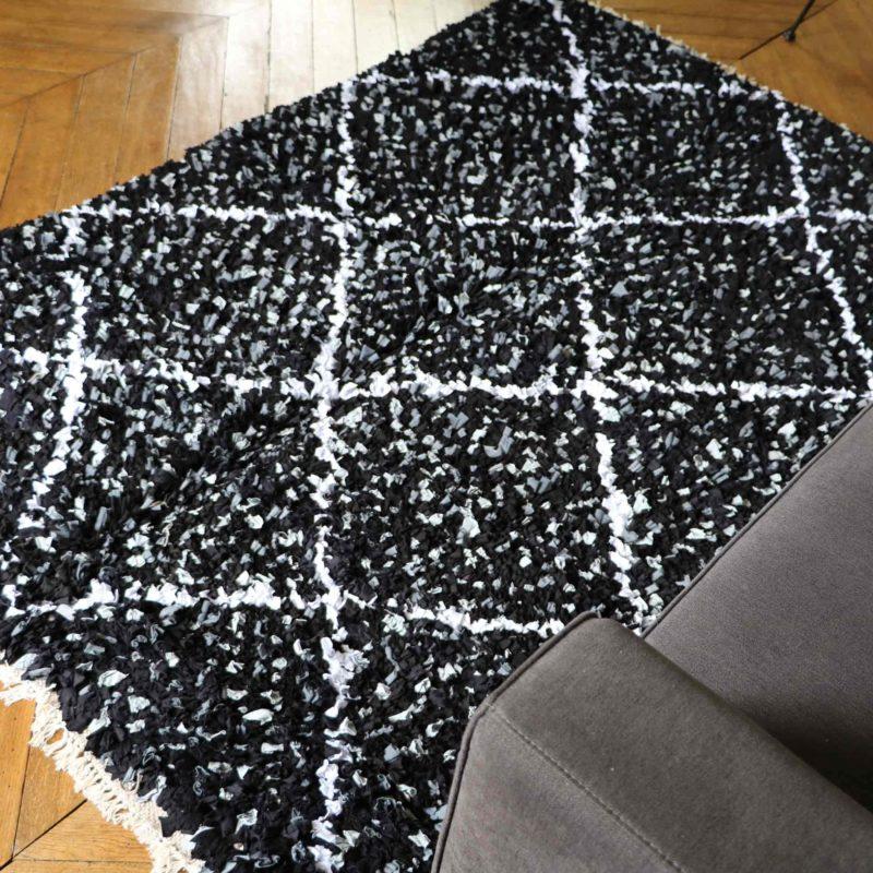 """tapis boucherouite """"élégant"""" tapis noir salon"""