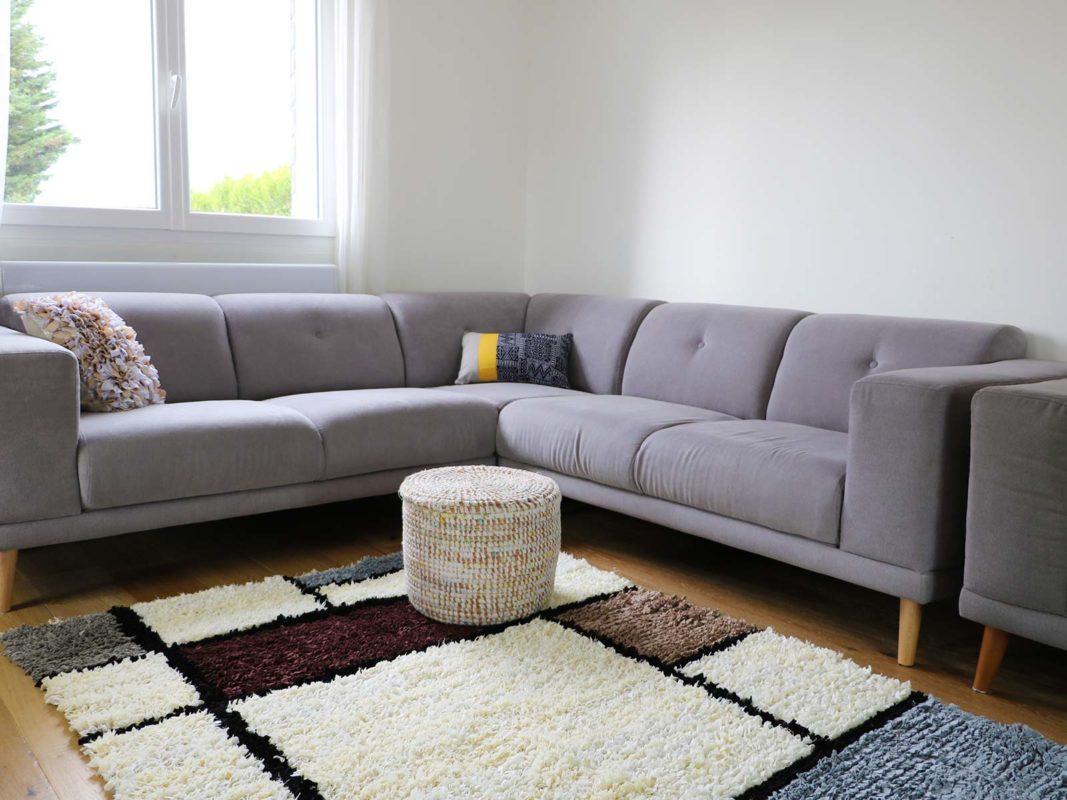 Quel tapis avec un canapé gris ? blanc à motifs
