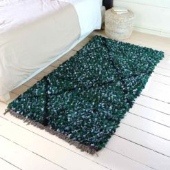 "Tapis boucherouite ""Catelle"" tapis vert recyclé"